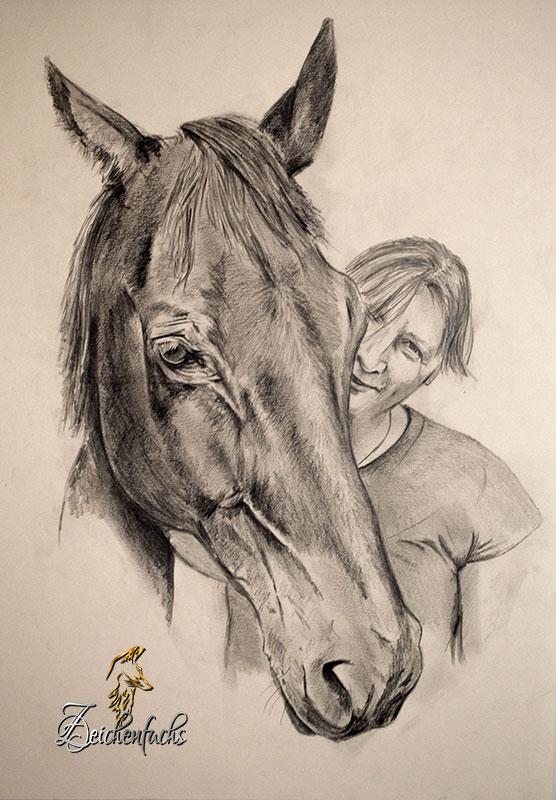 Bleistiftzeichnung von Pferd und Reiter