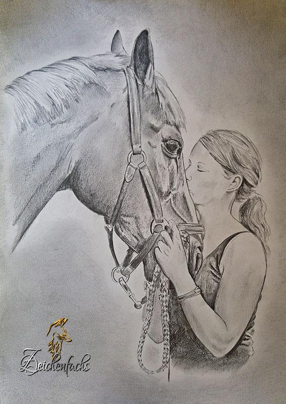 Bleistiftportrait von Pferd und Reiter